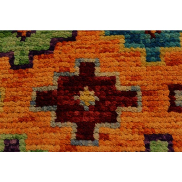 2000s Balouchi Esmerald Orange/ Blue Wool Rug - 3'7 X 4'11 For Sale - Image 5 of 8