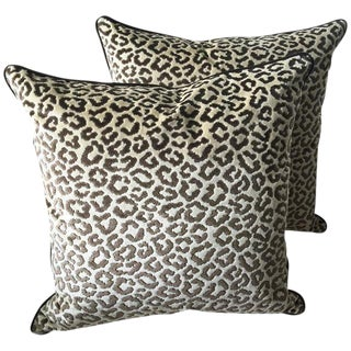 Lee Jofa Down Feather Leopard Velvet Pillows - A Pair