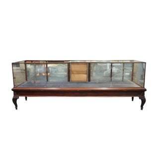 Large English Queen Anne Mahogany Showcase Display Cabinet For Sale