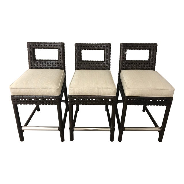 McGuire Leather Banded Counter Stools - Set of 3 For Sale