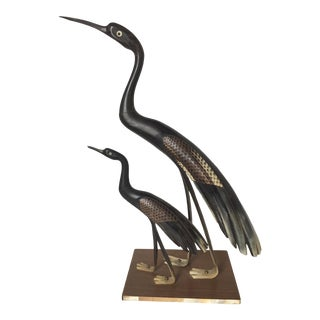 Figural Birds Carved in Cow Horn Sculpture For Sale