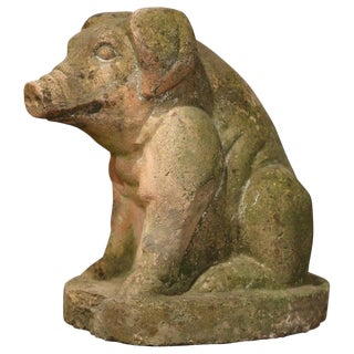 Early 20th Century French Outdoor Patinated Stone Pig Sculpture For Sale