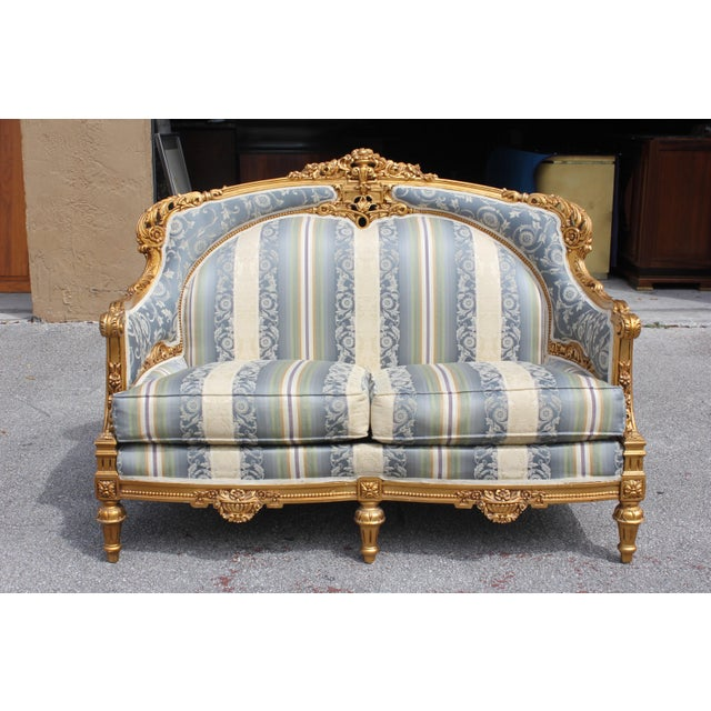 1940s Vintage French Louis XVI Style Giltwood Loveseat For Sale - Image 13 of 13