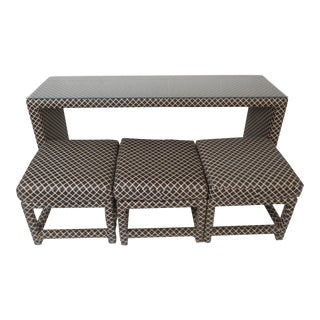 Unique Mid-Century Modern Console Table With Three Stools