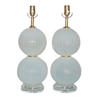 Joe Cariati Glass Ball Lamps White For Sale