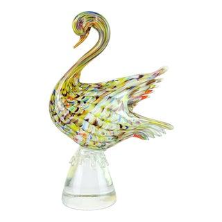Vintage Murano Rainbow Fenicio Pulled Feather Italian Art Glass Swan Bird Sculpture For Sale
