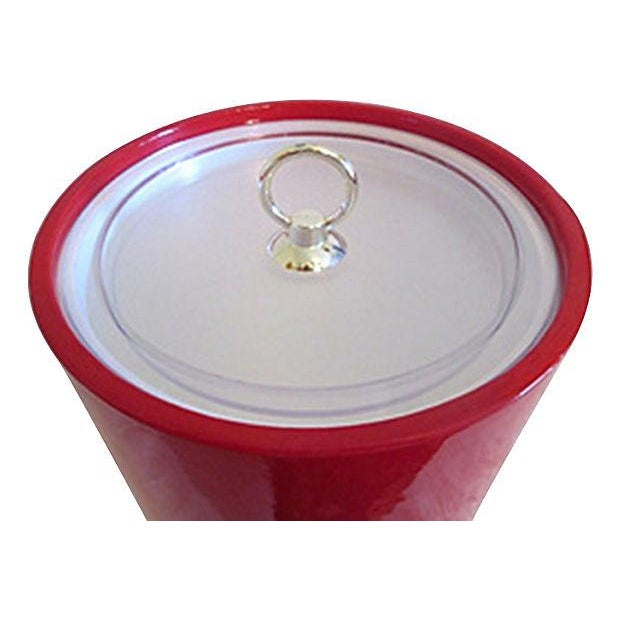 Vintage Red Faux Patent Leather Ice Bucket - Image 3 of 4