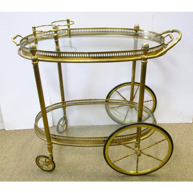 Brass and Glass Rolling Bar Tea Cart - Image 2 of 4