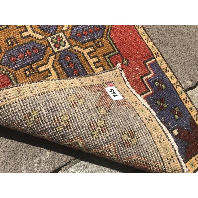 Vintage Handmade Mat Rug- 1′8″ × 2′11″ For Sale - Image 4 of 6
