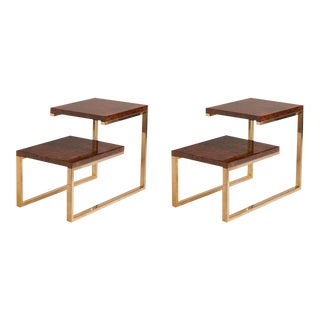 Pair of French Bronze and Lacquered Burled Wood Side Tables