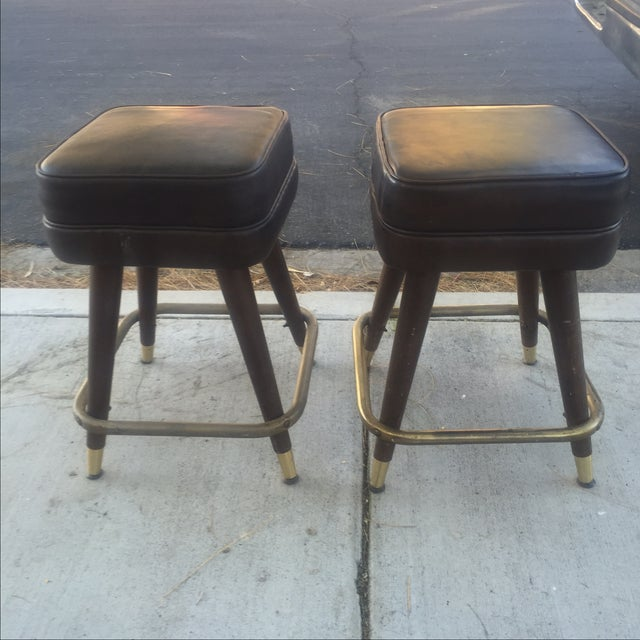 Vintage MCM Bar Stools With Brass Feet - Pair - Image 3 of 4