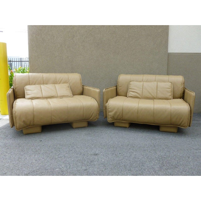 """Pair of De Sede of Switzerland """"1986"""" Oversized Modern Leather Chairs For Sale - Image 13 of 13"""