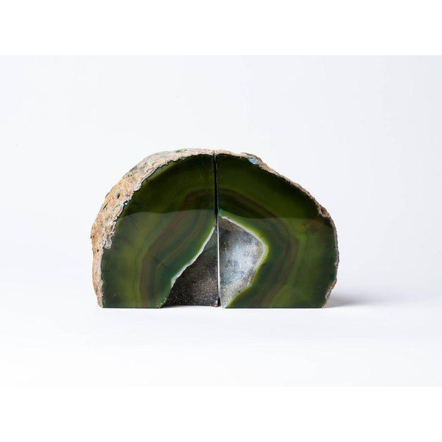 Pair of Organic Modern Agate Stone and Crystal Bookends in Moss Green For Sale - Image 4 of 11