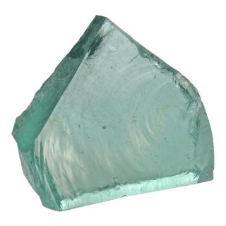 Aqua Slag Glass Wedge Slab For Sale