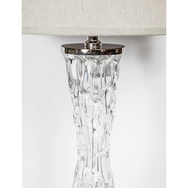 Pair of Swedish Mid-Century Modern Crystal Hourglass Lamps by Orrefors For Sale - Image 9 of 10