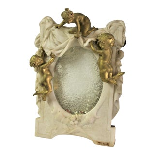 Antique Dore' Gold Carved Marble Mirror For Sale