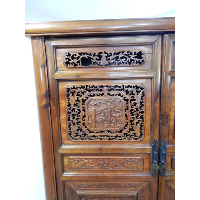 Teak Chinese Carved Teak Wood Cabinet For Sale - Image 7 of 12