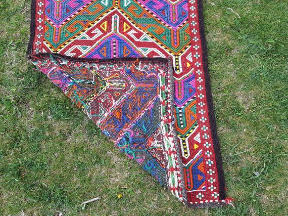 1970s Vintage Turkish Teppich Tree Of Life Pattern Kilim Rug 2 2