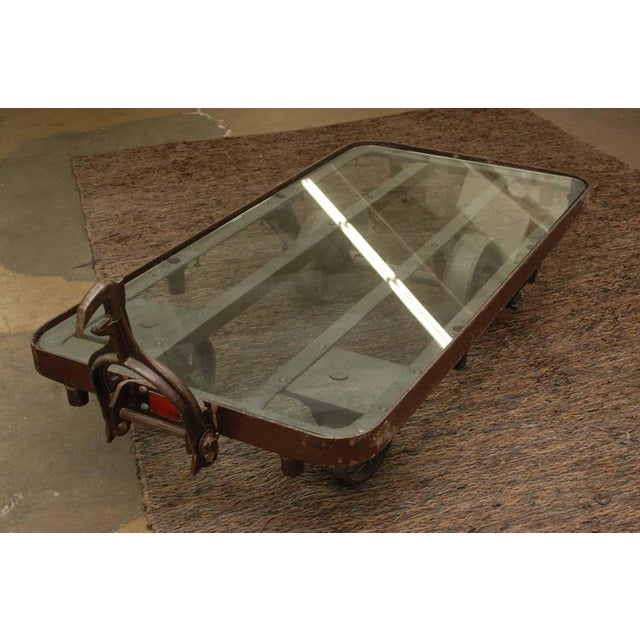Industrial Glass Top Iron Cart Coffee Table - Image 2 of 5