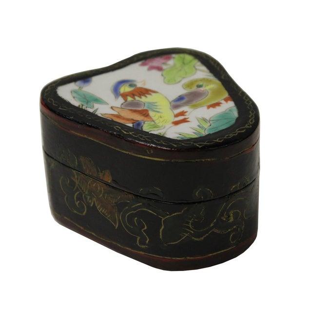 Chinese Porcelain & Wood Birds Jewelry Box - Image 2 of 5