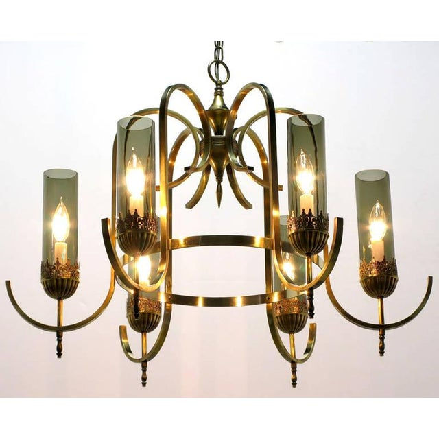 Brass Undulate Arm Six-Light Chandelier with Smoked Hurricane Shades For Sale - Image 4 of 8