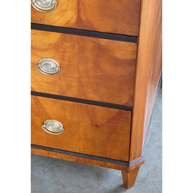 Mid 19th Century A Handsome and Well-Figured Austrian Biedermeier Cherry Wood 3-Drawer Chest With Ebonized Highlights For Sale - Image 5 of 6
