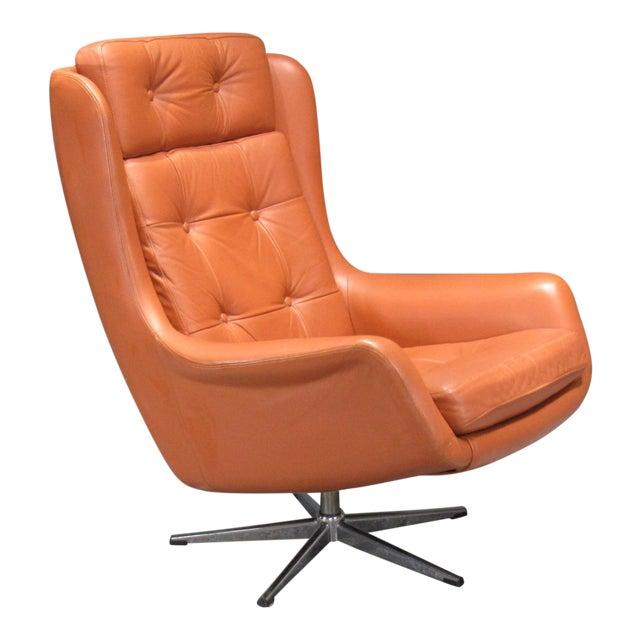 1970s Danish Modern Orange Leather High Back Swivel Armchair For Sale