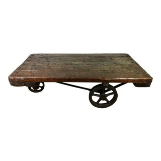 Antique Industrial Cart Coffee Table For Sale