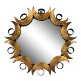Image of Mid-Century Petite Brutalist Round C. Jeré Style Mirror For Sale