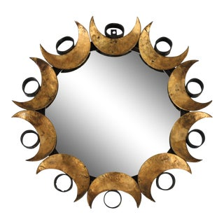 Mid-Century Petite Brutalist Round C. Jeré Style Mirror For Sale