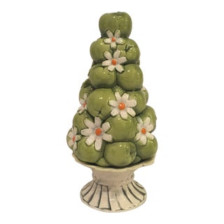 Vintage Inarco Green Apple and Daisy Ceramic Trompe l'Oiel Topiary For Sale
