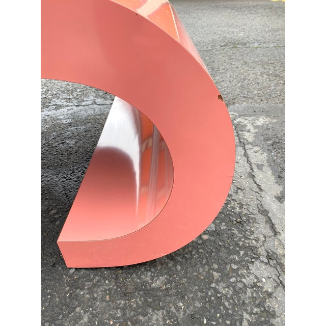 Modern 1980s Post Modern Pink Laminate Waterfall Coffee Table For Sale - Image 3 of 7