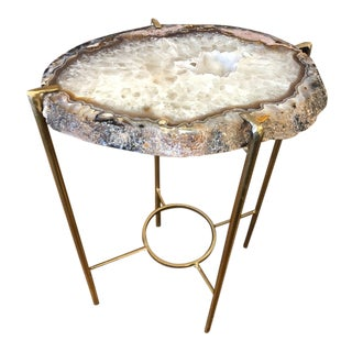 Contemporary Gray Pink and Smokey White Quartz Tea Table For Sale