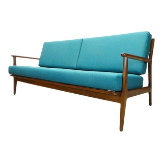 Refinished and Reupholstered Mid Century Danish Modern Baumritter 3 Seater Sofa For Sale