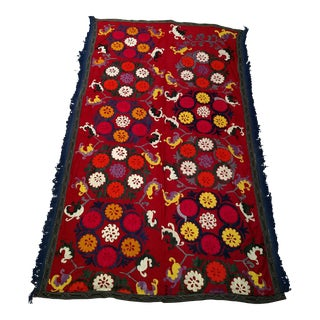 """1950s Vintage Silk Suzani- 3' 10"""" X 6' 2"""" For Sale"""