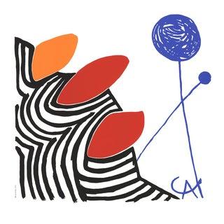 "Alexander Calder Budding (No Text) 27.5"" X 27.5"" Serigraph 1980 Modernism Black, White, Red, Orange, Blue Forms, Circles For Sale"
