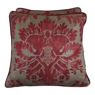 Red & Metallic Gold Fortuny Pillows, Pair For Sale