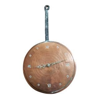 Vintage 1960s Copper Skillet Wall Clock For Sale