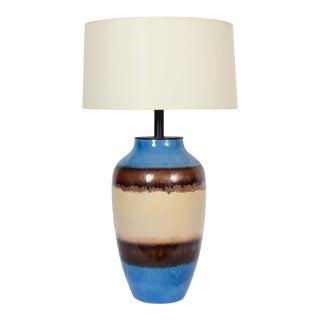 Raymor Bright Blue Banded Glazed Ceramic Oil Jar Table Lamp For Sale