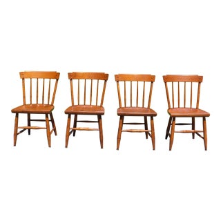 Vintage Set of 4 Mid Century Heywood Wakefield Publick House Maple Dining Chairs For Sale