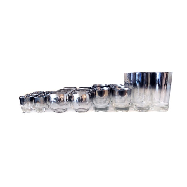 Mid Century Modern Vitreon Queen's Lustreware glassware set of 31 pieces. Set includes 7 highball glasses, 8 lowball...
