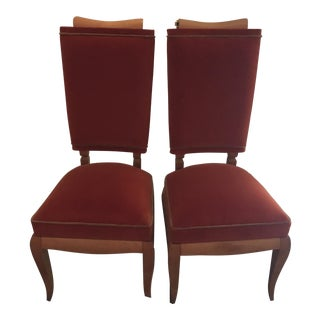 French Art Deco Velvet Chairs - A Pair