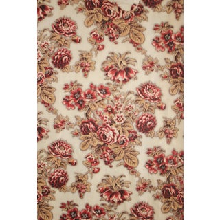 French Floral Fabric Madder And Picotage Circa 1840s Flower Printed Cotton Large Panel For Sale