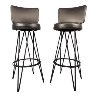 Mid-Century Modern Hairpin Swivel Stools in the Style of Frederick Weinberg For Sale