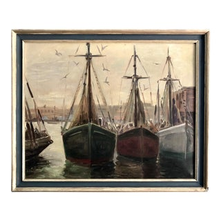 1970s Fishing Boats in the Harbor Seascape Painting