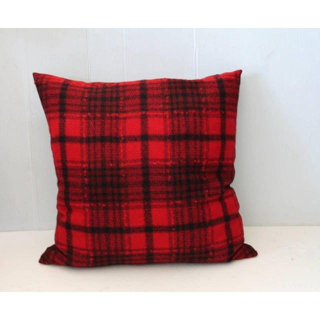 1930s Pair of Red and Black Plaid Pendleton Blanket Pillows For Sale - Image 5 of 5