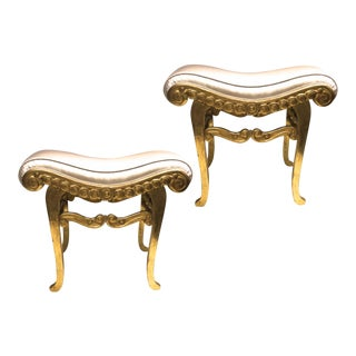 Armand Rateau Pair of Gold Leaf Satin Silk Refined Crafted Wood Stools For Sale
