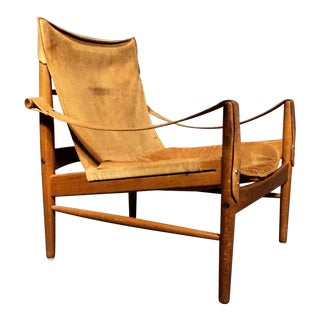 "Hans Olsen ""Antilop"" Suede and Oak Safari Chair For Sale"