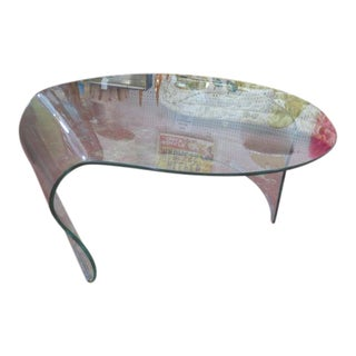 Vintage Mid Century Modern Formed Art Glass Coffee Table For Sale