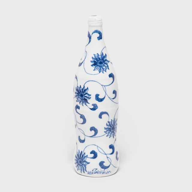 """Early 21st Century """"Trailing Vines"""" Blue and White Cola Bottle by Taikkun LI For Sale - Image 5 of 5"""